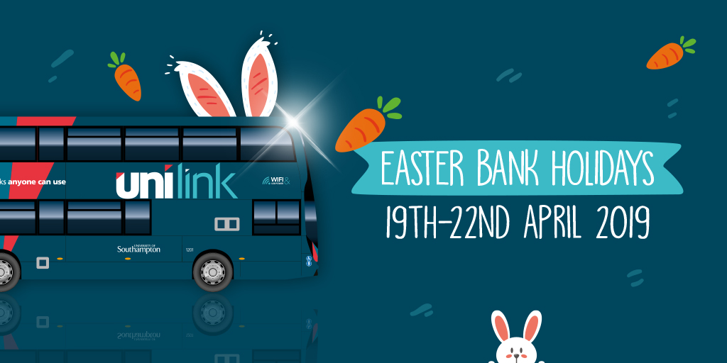 A Unilink bus wears bunny ears whilst carrots fly around. It says 'Easter Bank Holidays - 19th to 22nd April 2019.'