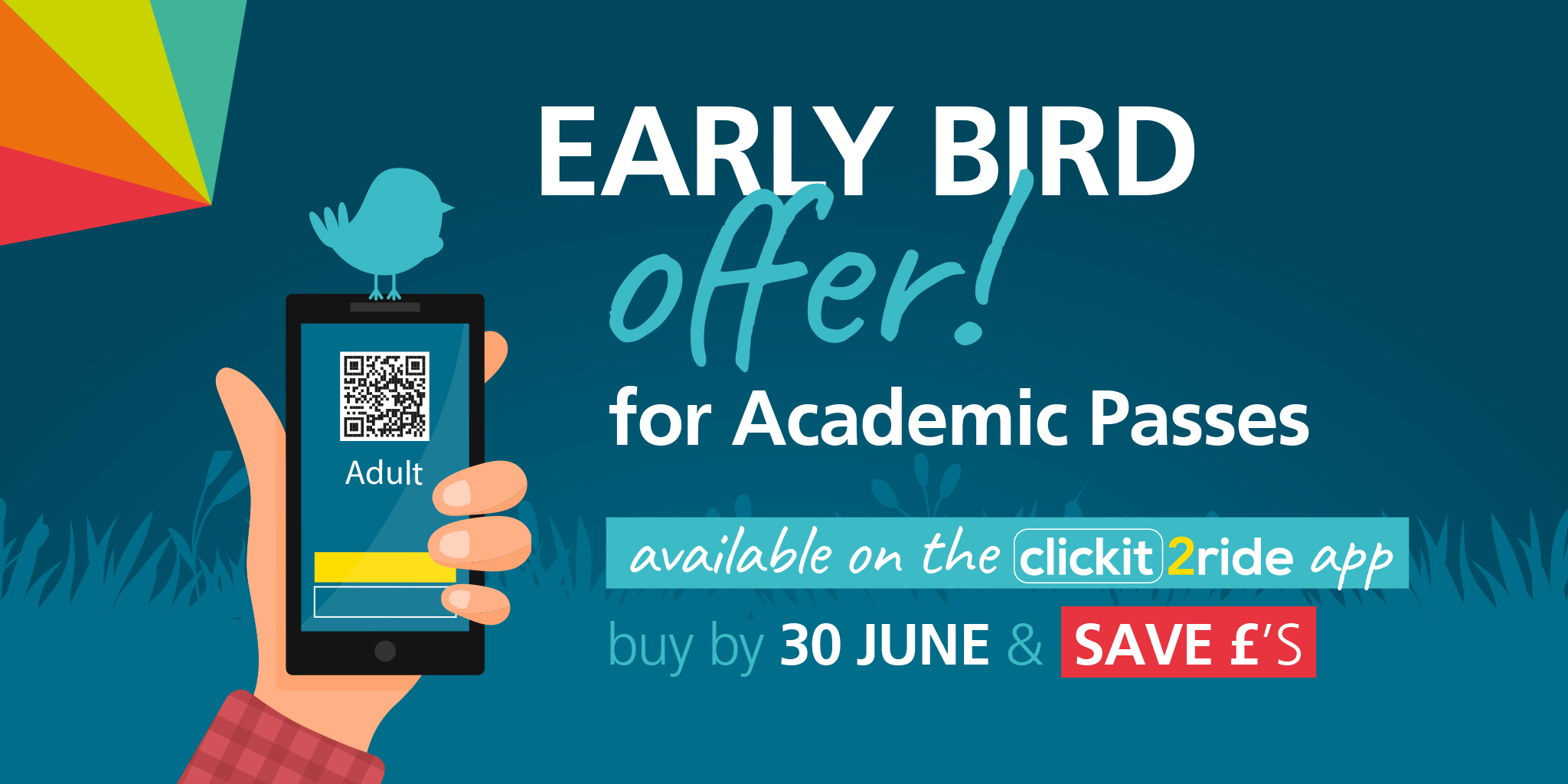 Early Bird Offer for academic passes! Available on the Clickit2ride app. Buy by June 30th and save!