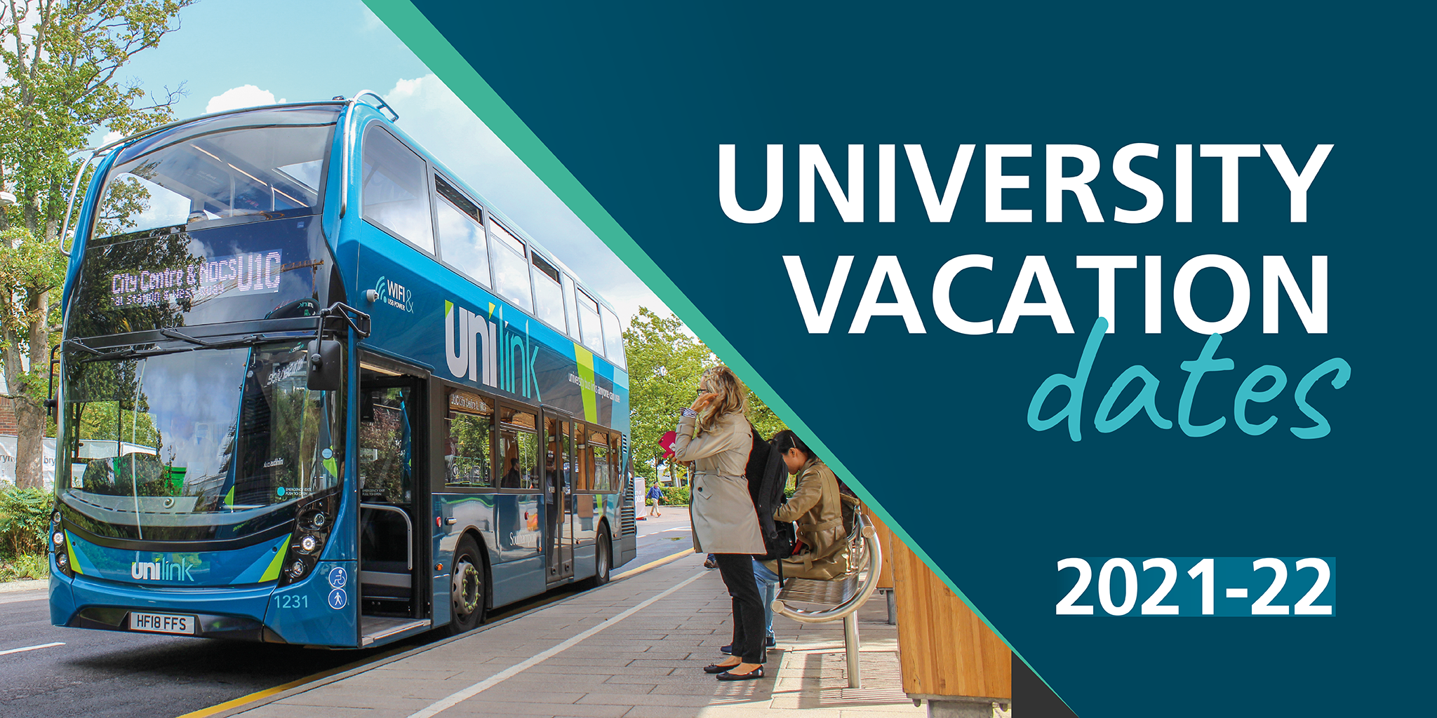 A promotional image for university term and vacation dates