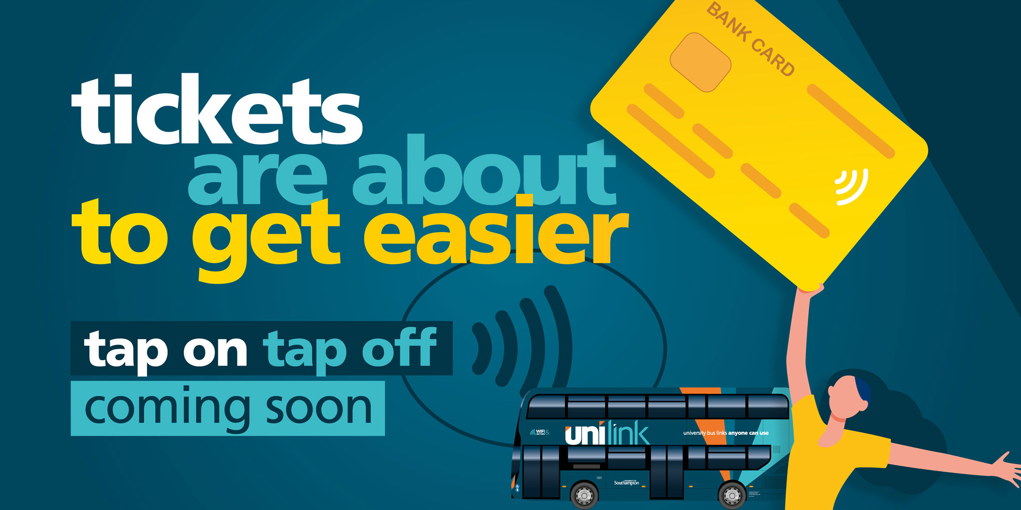 Image of a Unilink bus with a person holding a bank card and text 'tickets are about to get easier. Tap on tap off coming soon'