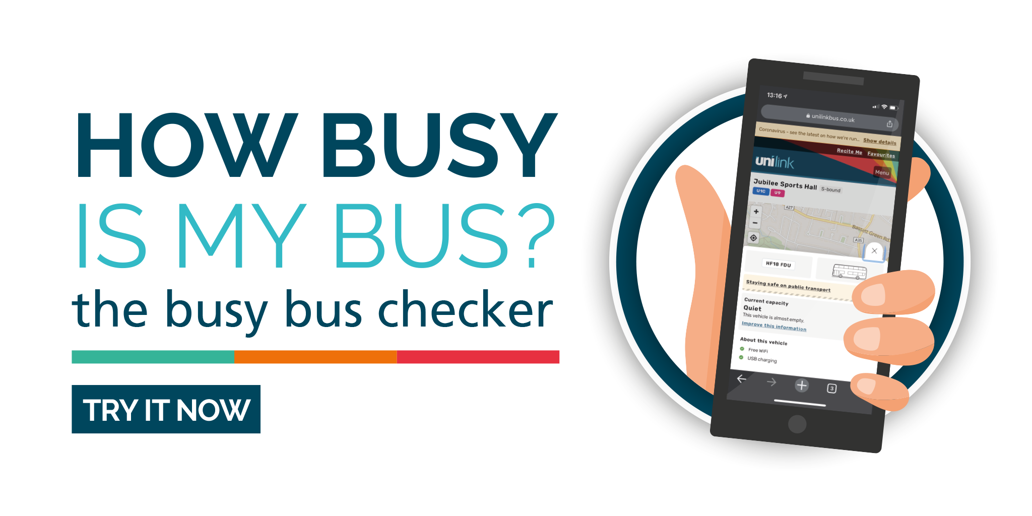 Image reading 'How busy is my bus? The busy bus checker'