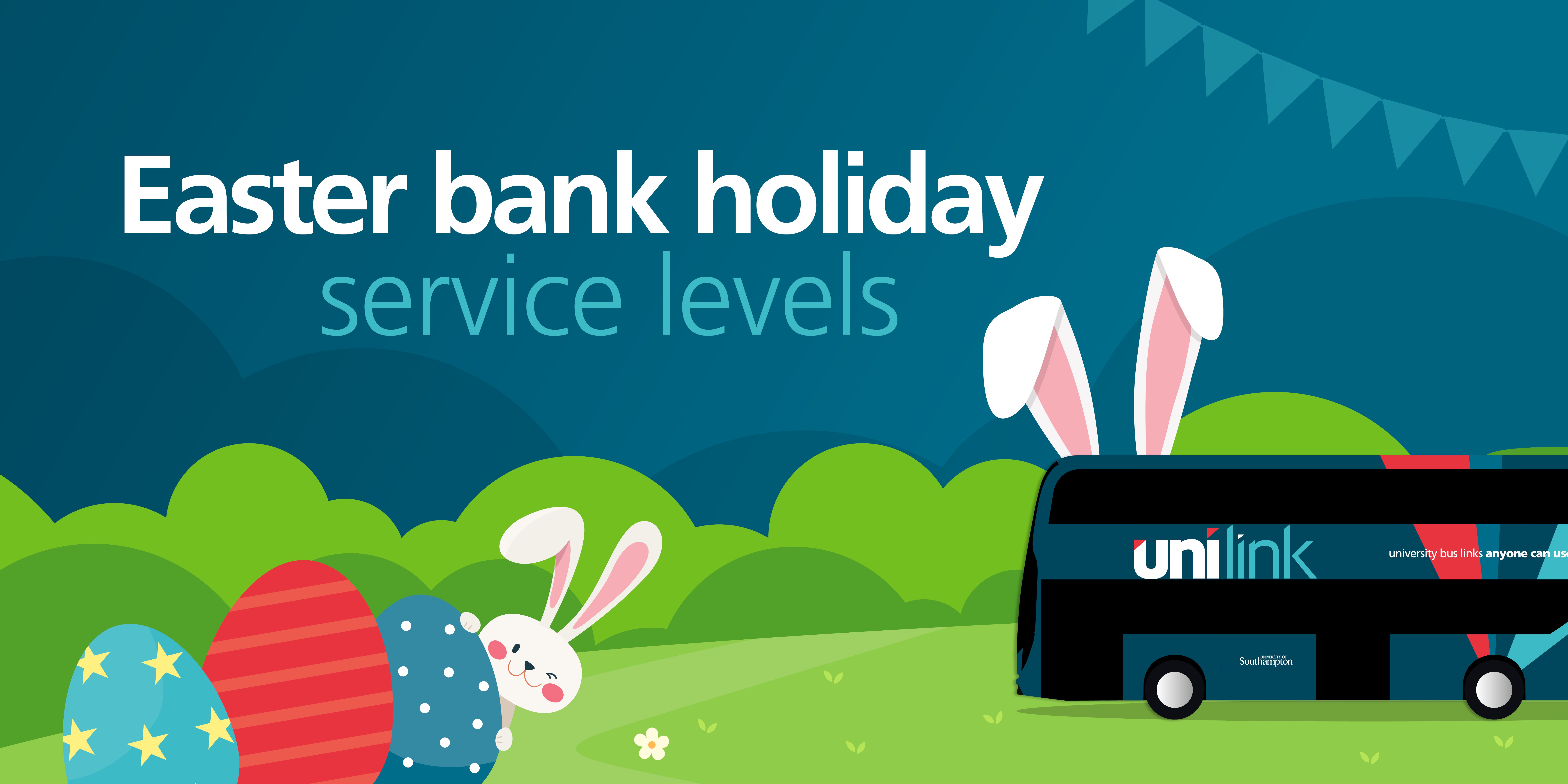 Image of a Unilink bus with text reading 'Easter bank holiday service levels'